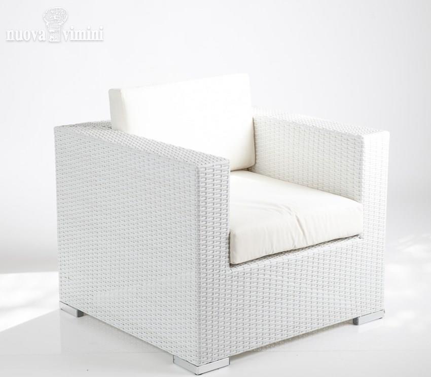 Poltrona capri white rattan sntetico prezzi offerte for Poltrona rattan sintetico