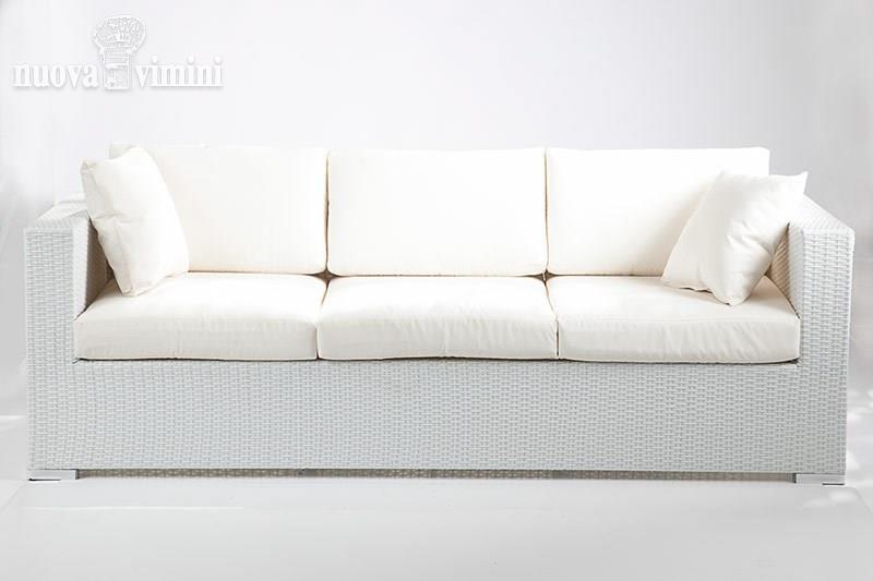 Divano 3 posti carpi white in rattan sintetico prezzi - Divano in vimini ...