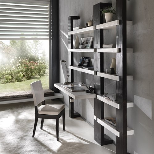 Libreria light bambu con piano scrivania