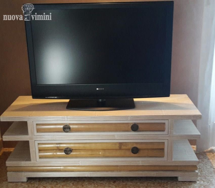 Porta Tv Decapato.Porta Tv Bambu Isayto Decapato Bianco Prezzi Offerte