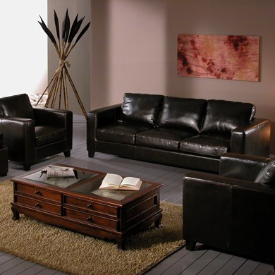 Salotto Chicago pelle bicast brown