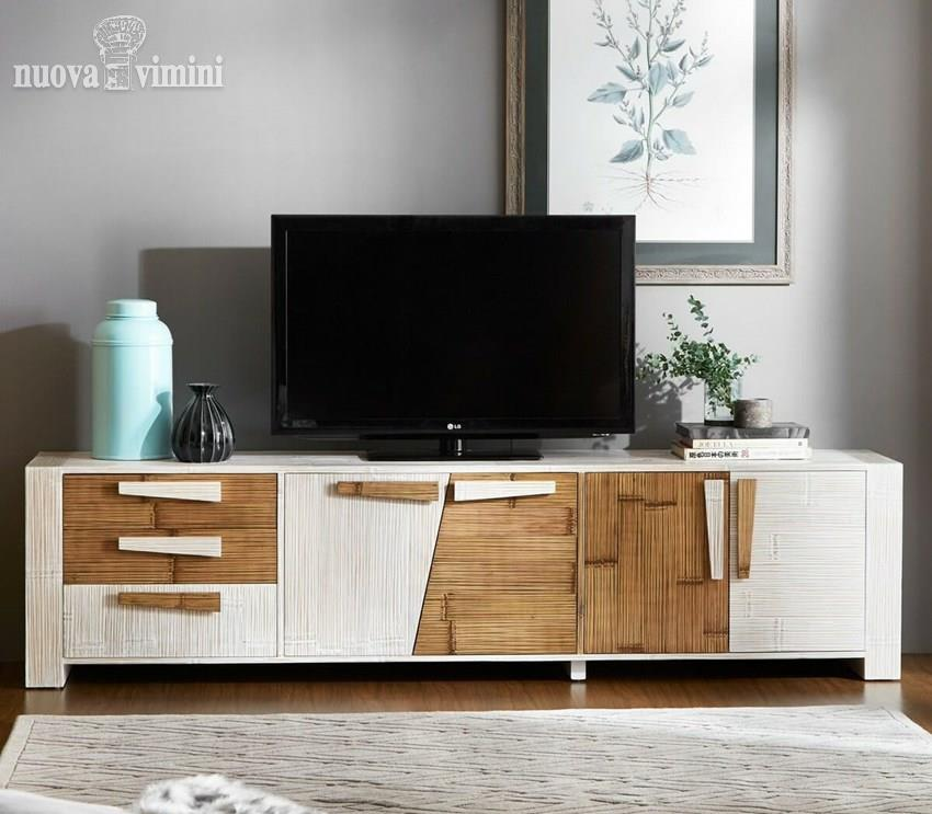 Credenza Mobile Porta Tv.Credenza Porta Tv In Crash Bambu Miring Miele White 240 Cm Prezzi